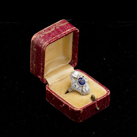 Art Deco Kashmir No Heat Sapphire 1.66 Carat and Diamond Ring AGL Cert - TMWJ7735 - TMW Jewels Co.