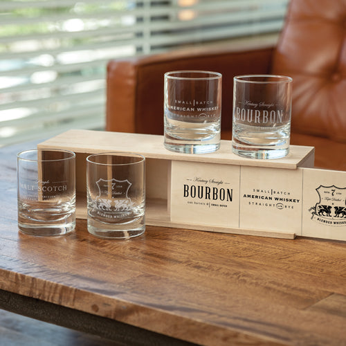 Etched Whiskey Label Crystal Tumblers - BINTBIZ