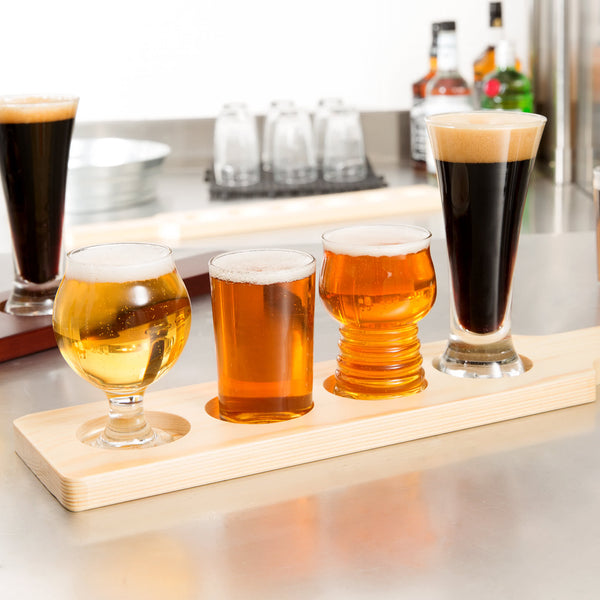 Beer Glasses Flight Set with Wood Paddle