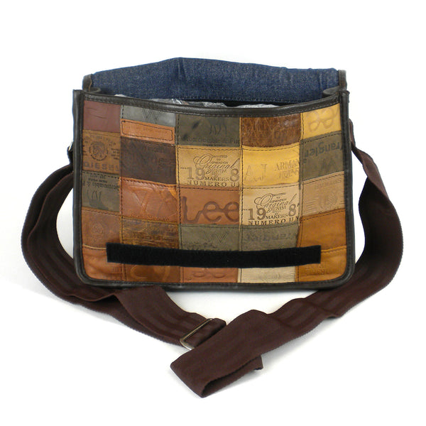 Small Leather Label Messenger Bag - BINTBIZ