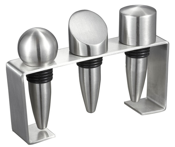 Stainless Steel Wine Stoppers with Rectangular Stand - BINTBIZ