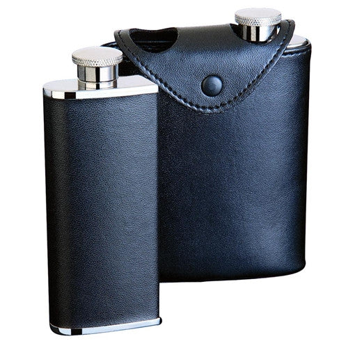 Black Leather 6oz Hip Flask (Two 3oz Flasks in Case) - BINTBIZ