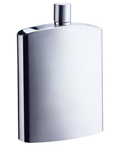 David Brushed Metallic Large Stainless Steel 8 oz. Hip Flask - BINTBIZ