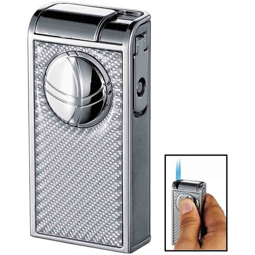 Infinity Double Jet Carbon Fiber Black Cigar Lighter - BINTBIZ