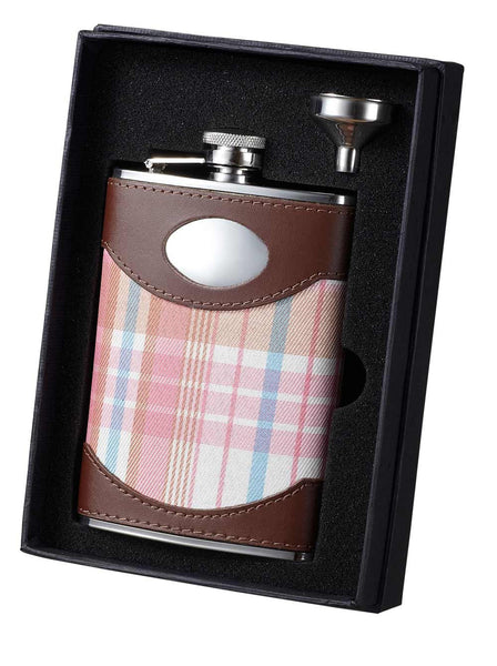 Hannah Pink Plaid and Leather Flask and Funnel Gift Set - 8 oz - BINTBIZ