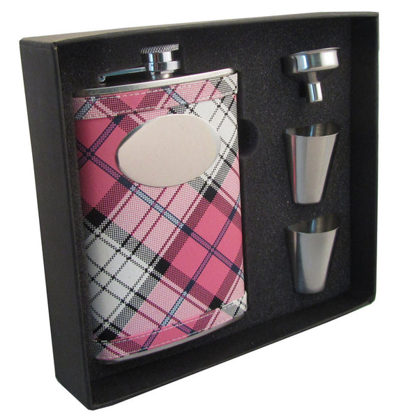 Valor Pink Plaid 8oz Stainless Steel Hip Flask Gift Set - BINTBIZ