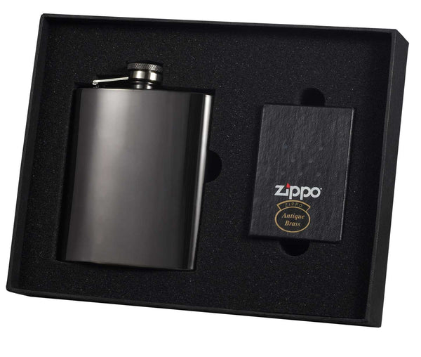 Outlaw 8oz Flask and Zippo Lighter Gift Set - BINTBIZ