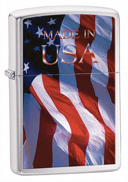 Made in USA Flag Brushed Chrome Lighter