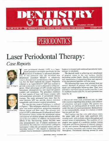 Reprint - Dentistry Today; October 2001 - Qty 25