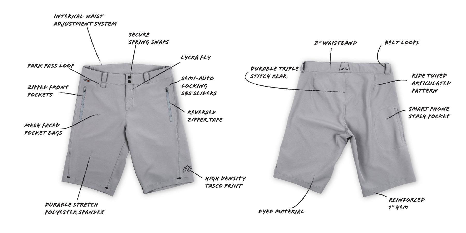TASCO Scout Short Features. Everything you need for a bicycle adventure.