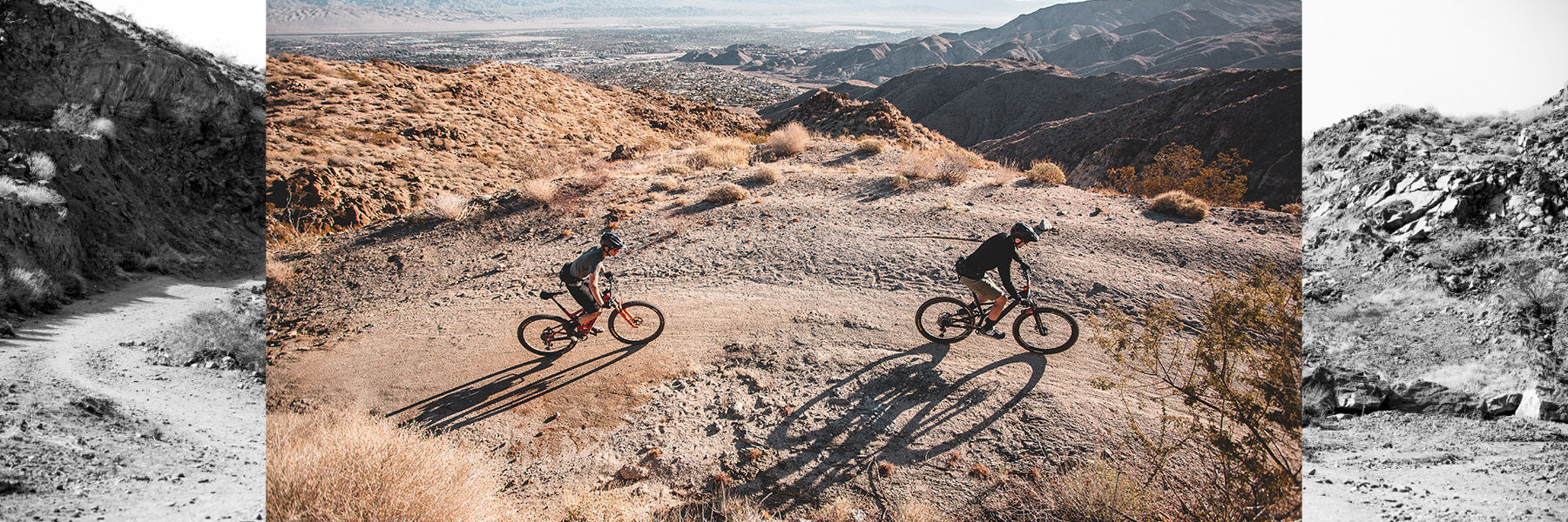 Matt and Jeremy riding in Palm Canyon CA showing the TASCO MTB apparel