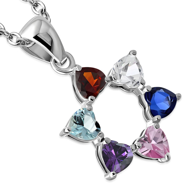 MultiColor Heart Shaped Star of David Necklace Pendant Sterling Silver
