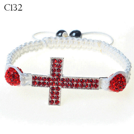 Silver-Tone Cross Red CZ White Cord Macrame Beaded Adjustable Bracelet