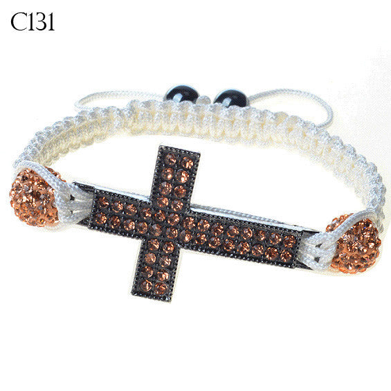 Silver-Tone Cross Rose Gold CZ Adjustable Macrame Bracelet