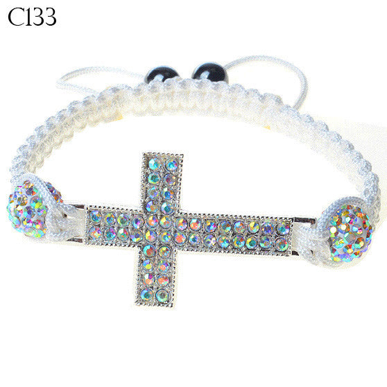 Silver-Tone Cross Multicolor White CZ Cord Beaded Adjustable Bracelet