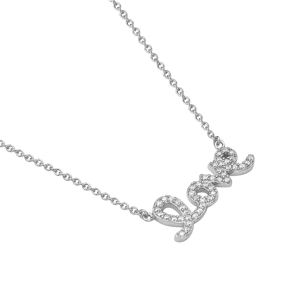 Cursive Love Pendant Necklace in 925 Sterling Silver