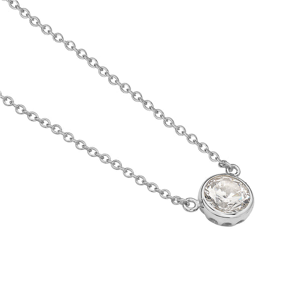 Round Solitaire Necklace Pendant Sterling Silver Cubic Zirconia