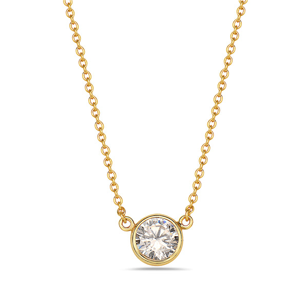Classic Solitaire Cubic Zirconia Gold Necklace in Sterling Silver