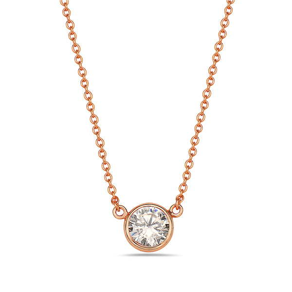 Rose Gold Bezel Cubic Zirconia Solitaire Necklace Pendant Sterling Silver