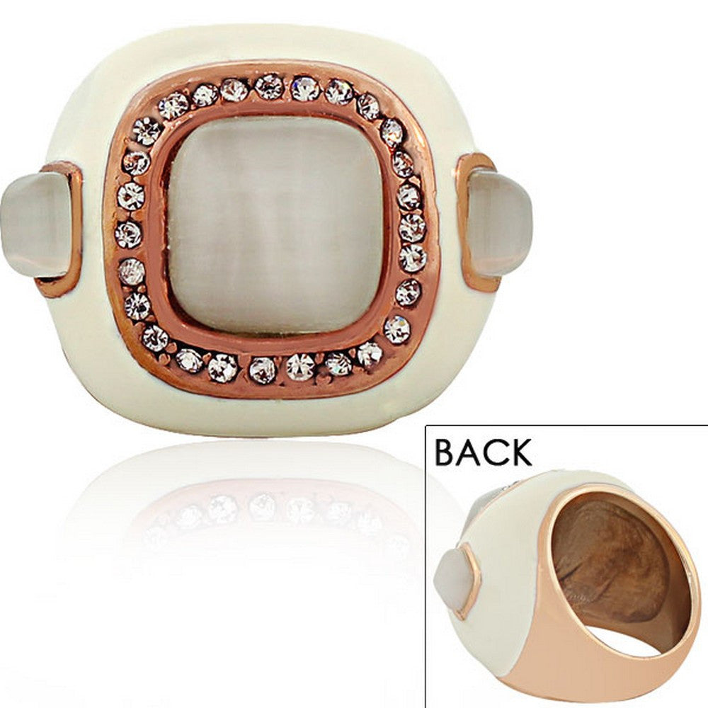 STEELTIME Stainless Steel Rose Gold-Tone White Enamel CZ Large Cocktail Ring