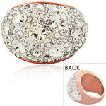 STEELTIME Stainless Steel Rose Gold-Tone White Clear CZ Large Statement Cocktail Ring