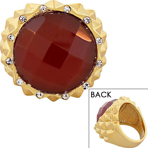 FERRARO Stainless Steel Yellow Gold-Tone Red White CZ Large Statement Cocktail Ring