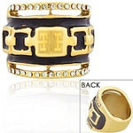 STEELTIME Stainless Steel Yellow Gold-Tone Black White CZ Greek Key Statement Ring