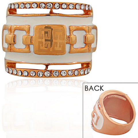 STEELTIME Stainless Steel Rose Gold-Tone White CZ Greek Key Statement Ring
