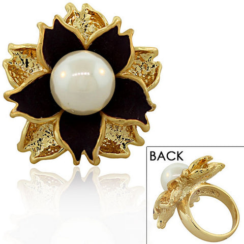 Fashion Alloy Yellow Gold-Tone White Simulated Pearl Purple Flower Cocktail Ring