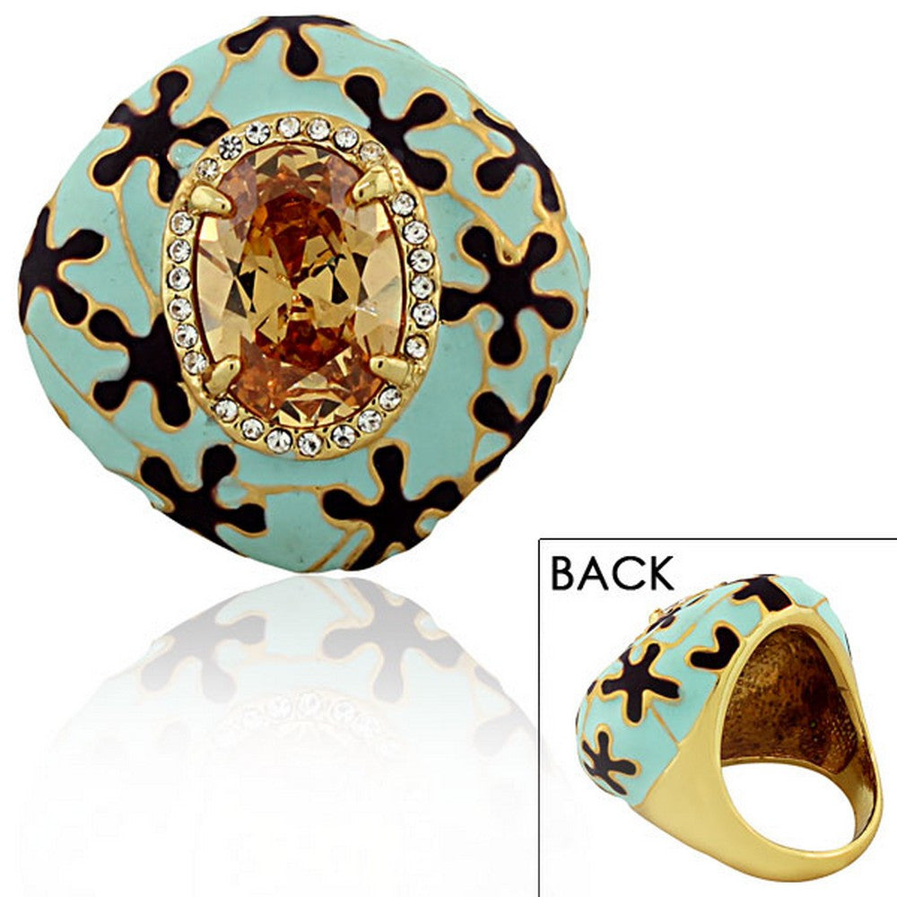 Fashion Alloy Yellow Gold-Tone Turquoise-Tone Brown CZ Large Statement Cocktail Ring