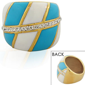 TECNO STEEL Stainless Steel Yellow Gold-Tone White Blue Enamel CZ Statement Ring