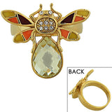 Fashion Alloy Yellow Gold-Tone Brown Orange CZ Insect Fly Cocktail Ring