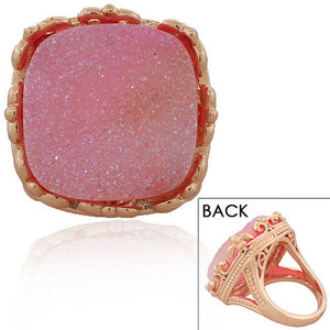 18K Rose Gold Plated Pink Drusy Quartz Glitter Large Cocktail Statement Ring