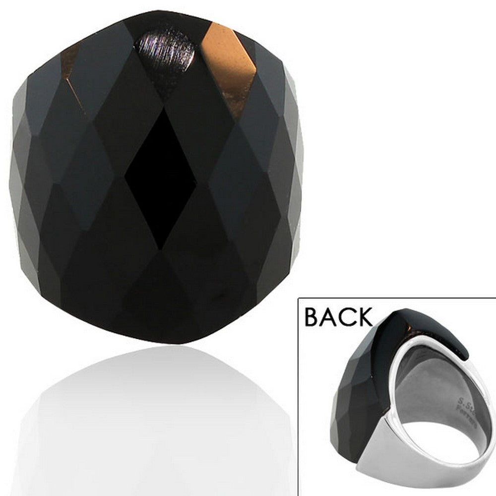 FERRARO Stainless Steel Silver-Tone Black Faceted Stone Cocktail Statement Ring