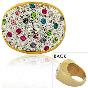 STEELTIME Stainless Steel Yellow Gold-Tone Multicolor CZ Cocktail Ring