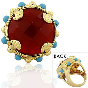 18K Yellow Gold Plated Bronze Red Blue Stones Cocktail Statement Ring