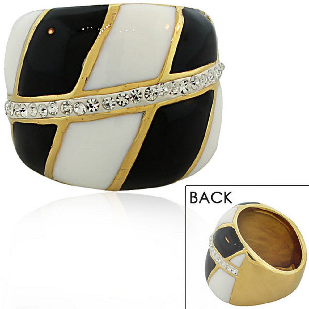 TECNO STEEL Stainless Steel Yellow Gold-Tone White Black Enamel Clear CZ Statement Ring