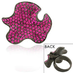 Stainless Steel Black Pink CZ Large Fashion Cocktail Statement Ring