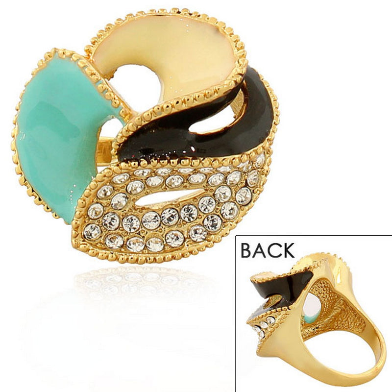 Fashion Alloy Yellow Gold-Tone Brown Turquoise-Tone CZ Flower Floral Cocktail Ring