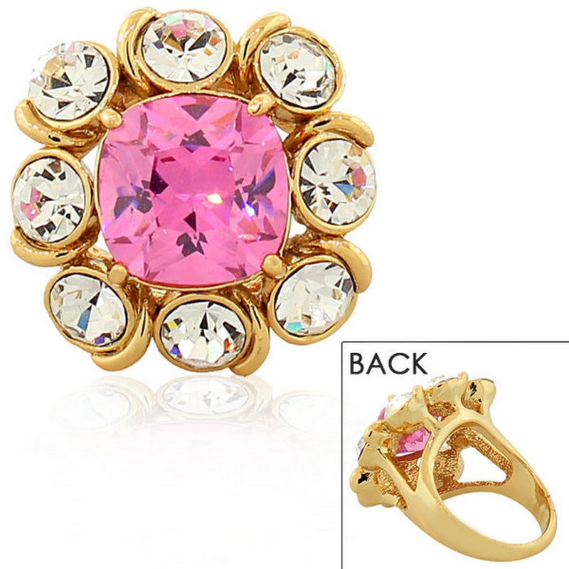 Fashion Alloy Yellow Gold-Tone White Pink Clear CZ Statement Cocktail Ring