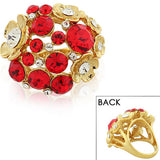 Fashion Alloy Yellow Gold-Tone Red White Clear CZ Flower Floral Design Cocktail Ring