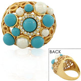 Fashion Alloy Yellow Gold-Tone Simulated Pearls Turquoise CZ Statement Cocktail Ring