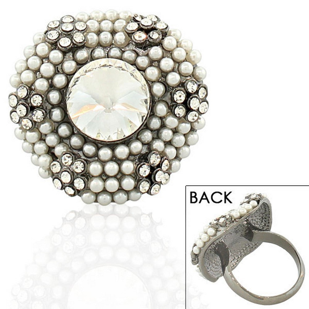 Fashion Alloy Simulated Pearls Black White Clear CZ Statement Cocktail Ring