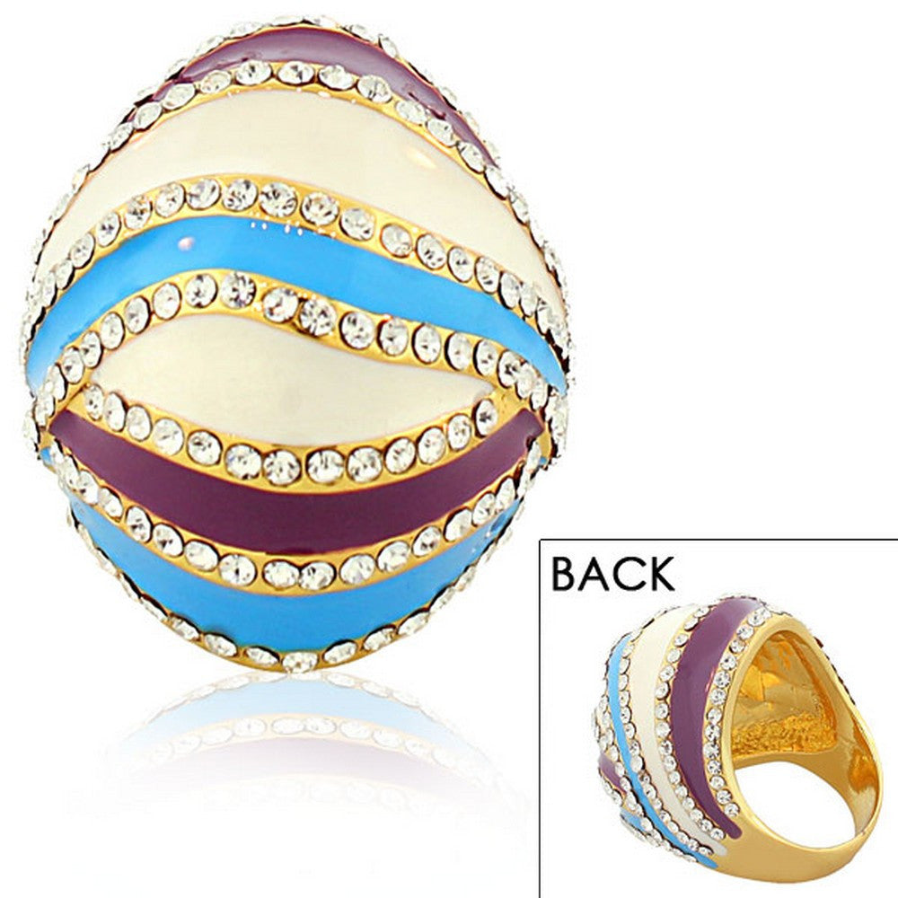 Fashion Alloy Yellow Gold-Tone White Blue Purple Clear CZ Statement Cocktail Ring