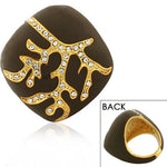 Fashion Alloy Yellow Gold-Tone Brown White Clear CZ Statement Cocktail Ring