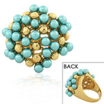 Fashion Alloy Yellow Gold-Tone Turquoise-Tone Beads Statement Cocktail Ring