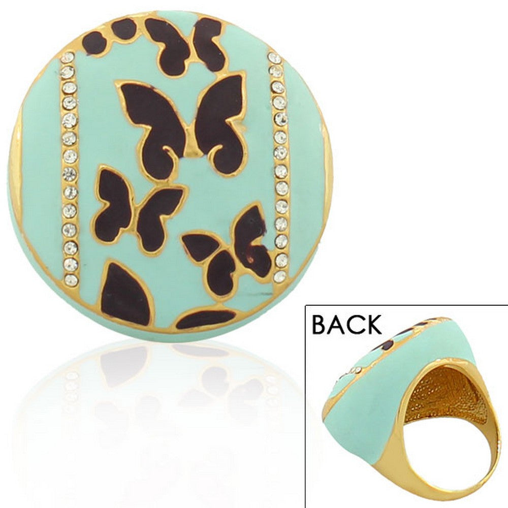 Fashion Alloy Yellow Gold-Tone Turquoise-Tone Brown Butterflies CZ Cocktail Ring
