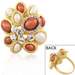 Fashion Alloy Yellow Gold-Tone Brown White Simulated Pearls Clear CZ Cocktail Ring