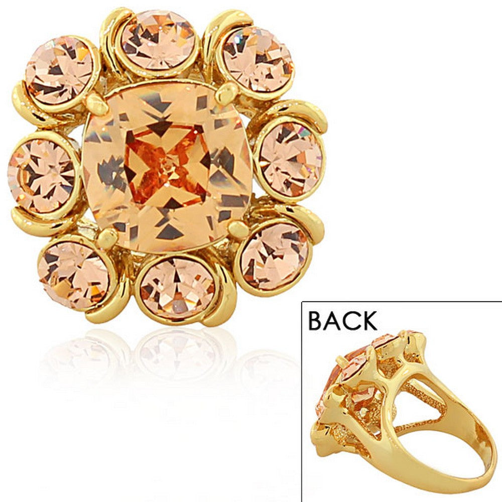 Fashion Alloy Yellow Gold-Tone Brown Peach-Tone CZ Statement Cocktail Ring