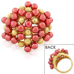 Fashion Alloy Yellow Gold-Tone Pink Red Beads Statement Cocktail Ring